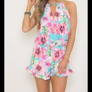 NWT Pink Lily Floral Romper